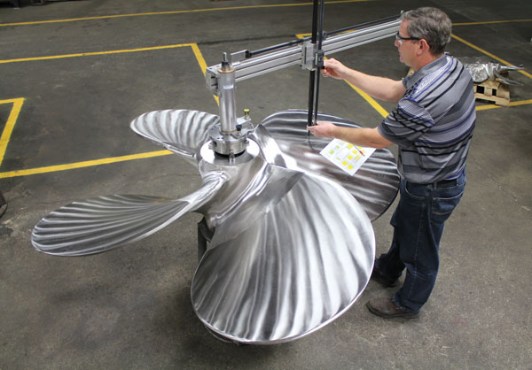 stainless steel work boat prop inspection